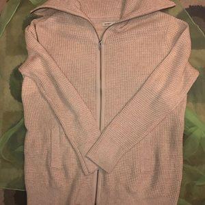 Mens waffle knit zipper sweater